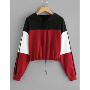Coloured and Cropped Drawstring Hoodie